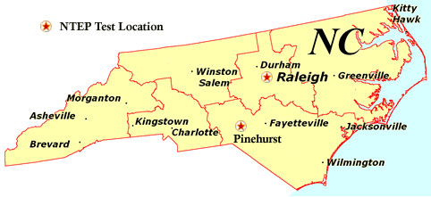 National Turfgrass Evaluation Program Data For Each State - State map north carolina