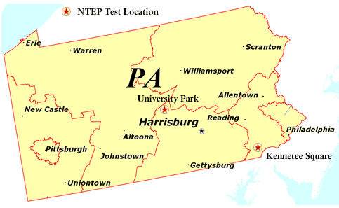 National Turfgrass Evaluation Program Data For Each State - State of pennsylvania map